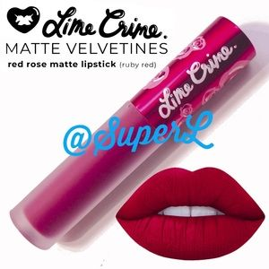 3/$15 Lime Crime Matte Velvetine Lipstick Red Rose